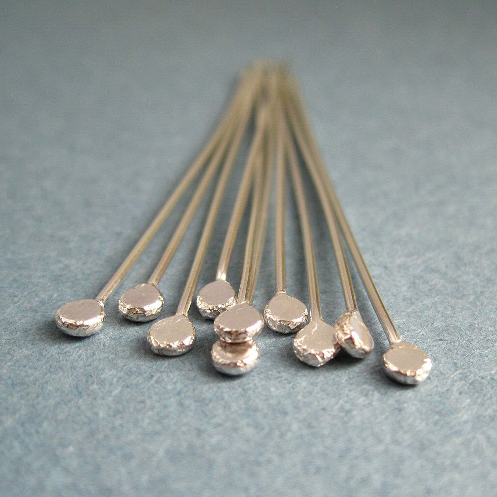 Hammered Sterling Silver Headpins 0.8mm/20g