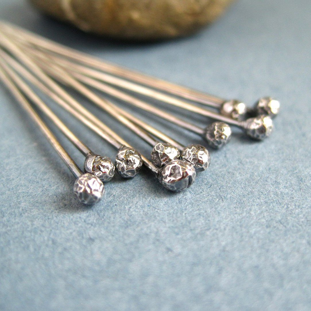 Oxidized Sterling Silver Headpins 0.8mm/20g