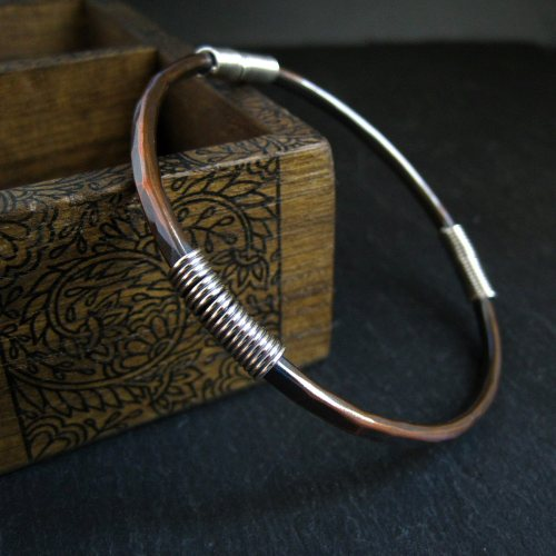 Handmade Copper Bangle with Sterling Silver Coils