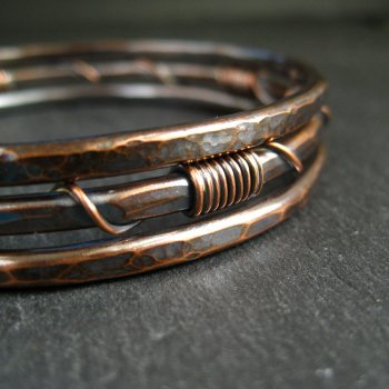 Hammered Copper Bangles - Wire Wrap Coil Design