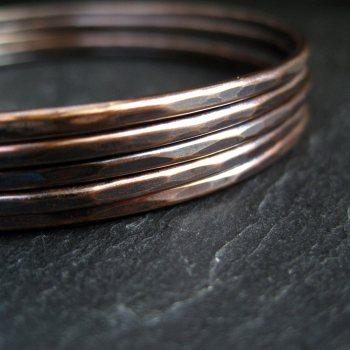 Skinny Bronze Bangles - Set of 5 - Oxidized Finish