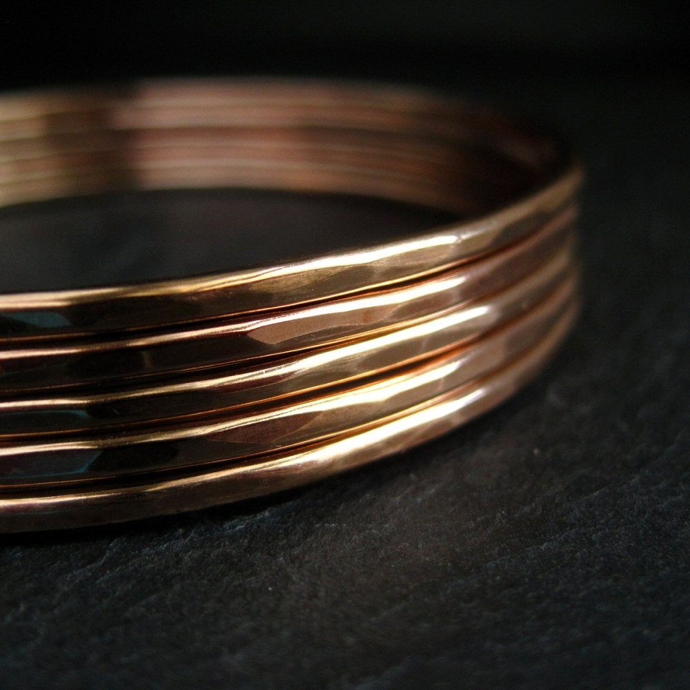 Skinny Bronze Bangles • Set of 5 • Bright Finish