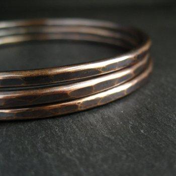 Hammered Bronze Bangles - Set of 3 - Oxidized Finish