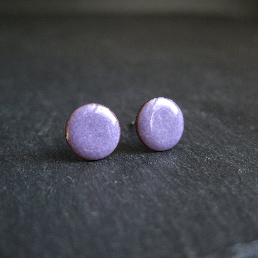 Amethyst Purple Enamel Stud Earrings • Sterling Silver Posts
