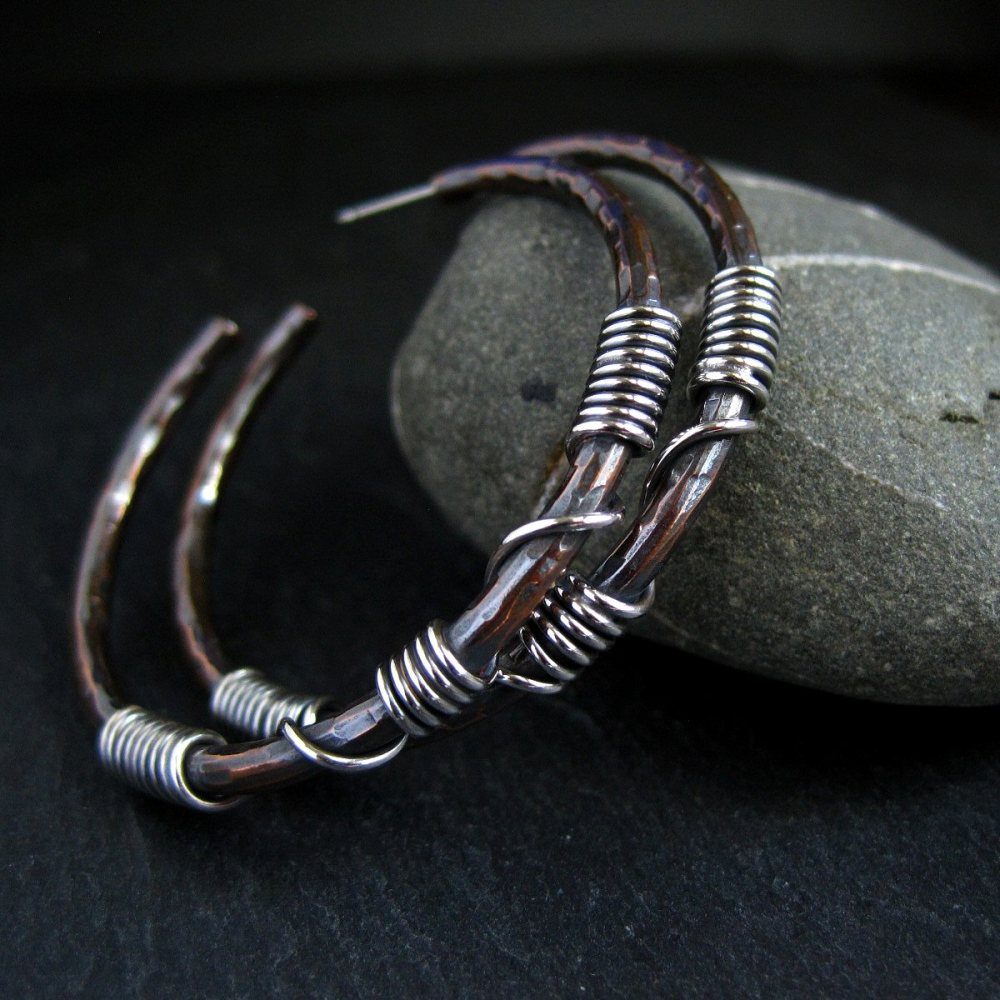 Copper Hoop Earrings with Sterling Silver Coils