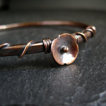 Copper Bangle with Copper Poppy Flower