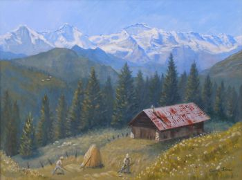 (L1003B) Alpine Beauty With Eiger, Monch and Jungfrau (Framed original oil painting)