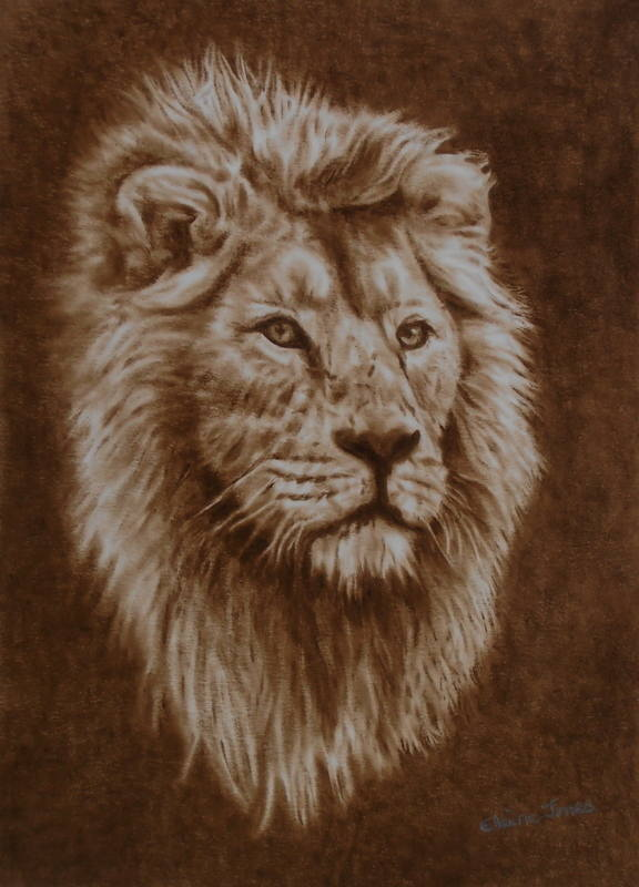 His Majesty - male Asiatic lion portrait in dry-brush oil