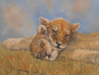 (W113A)  Sleepy Lion Cubs (unframed original oil painting)