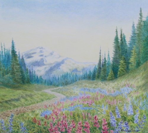 (L105B) Mount Rainier Wildflowers (Original crayon drawing, mounted ready t