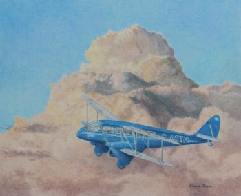 (A115C) de Havilland Dragon Rapide (Coloured pencil painting, matted/mounted ready to frame)