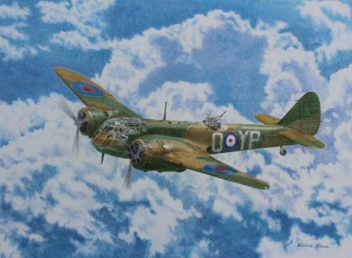 (A116C) Bristol Blenheim (Coloured pencil painting, matted/mounted ready to