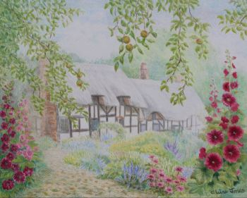 (L106B) English Cottage Garden (Original coloured pencil drawing, mounted/matted ready to frame)