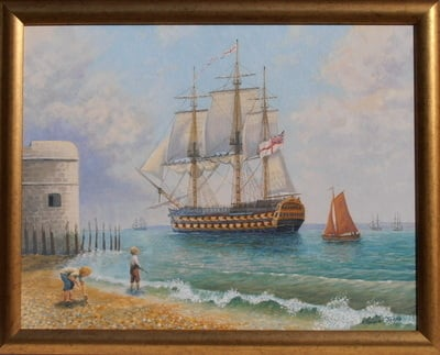 (M101)    Leaving Portsmouth Harbour (Framed original oil painting)