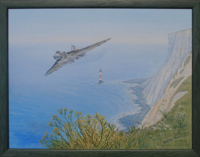 Vulcan Over Beachy Head framed