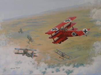 (A114C) The Red Baron (Oil on canvas, framed and ready to hang)