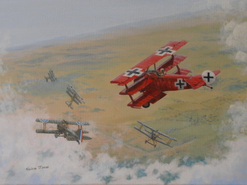 (A113C) The Red Baron (Oil on canvas, unframed)