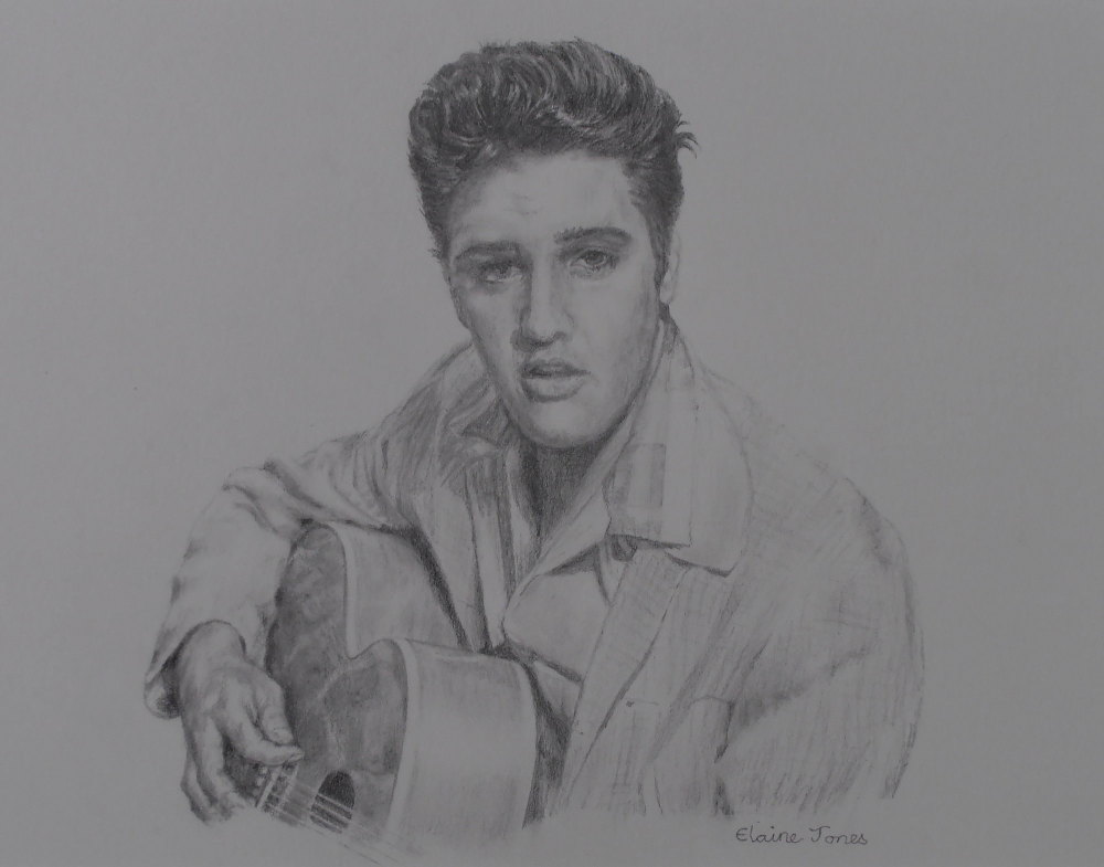 (W105A) Pencil portrait of Elvis Presley