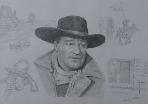 (W106A) Pencil portrait of John Wayne