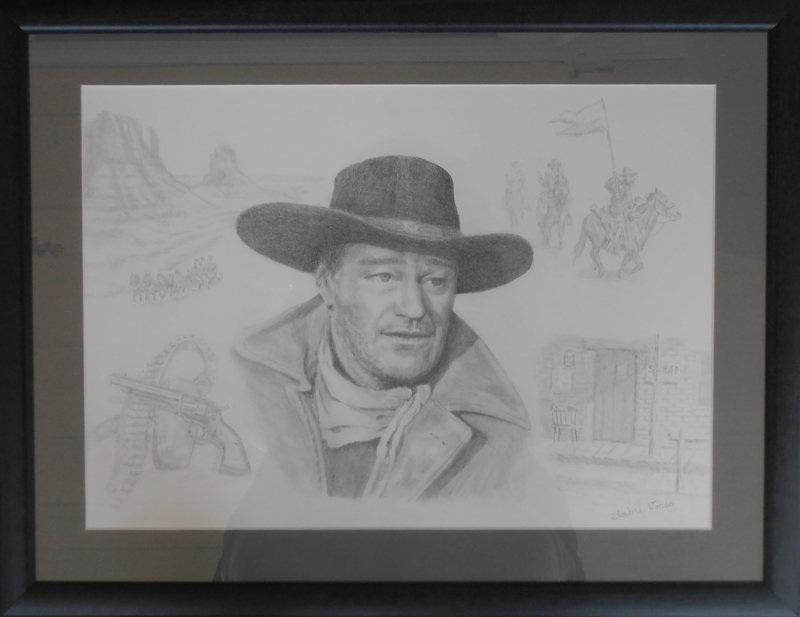 John Wayne portrait framed
