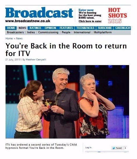 broadcast magazine back in the room to return to itv