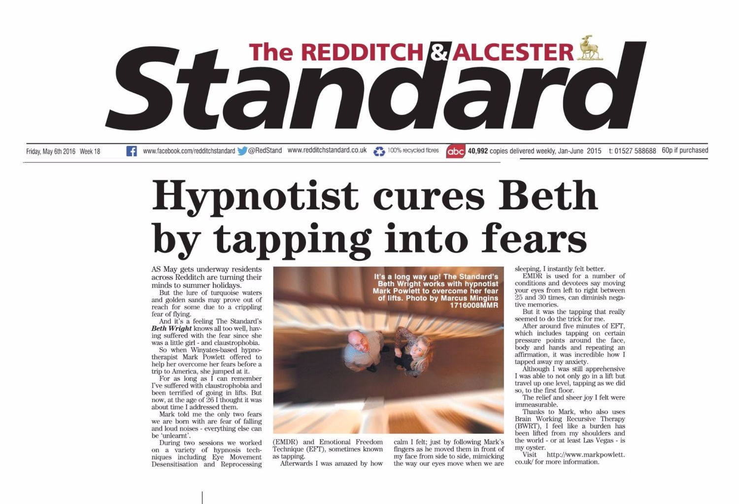 Redditch Standard fear of flying cover