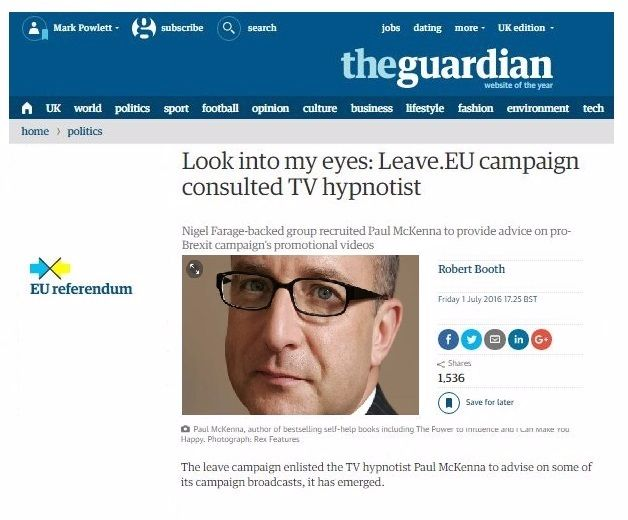 look into my eyes Paul McKenna uses hypnosis for leave campaign