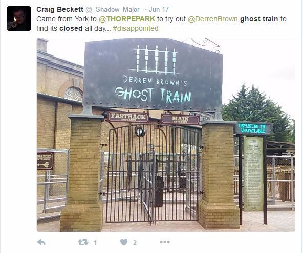 Derren Brown Ghost Train Closed Twitter Tweet
