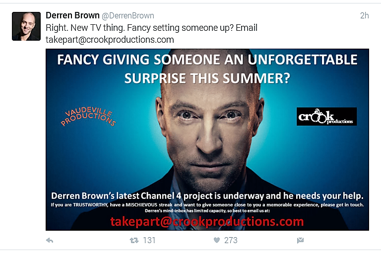 Derren Brown New TV Show looks for contestants