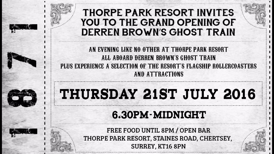 Thorpe Park Ghost Train Press Launch Ticket