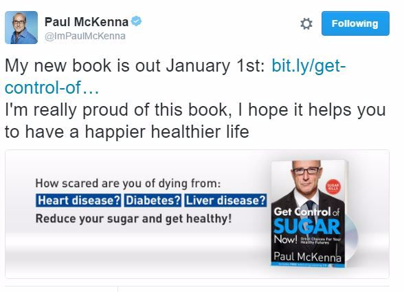 Paul Mckenna New Book 2017 Tweet Get Control of Sugar