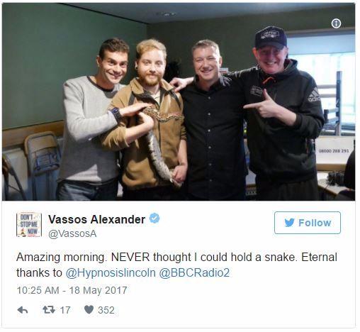 vassos alexander tweet with snake hypnosis phobia