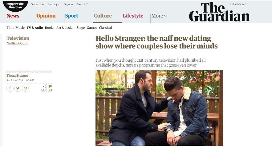 Hello Stranger Channel 4 Fake or Real.. Guardian Review