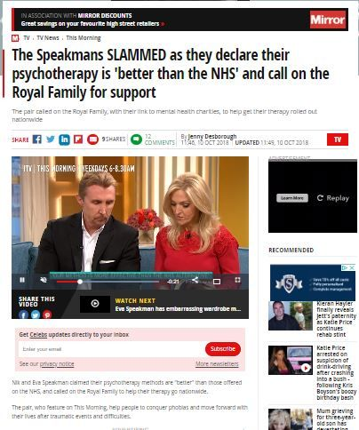 speakmans slammed by Daily Mirror