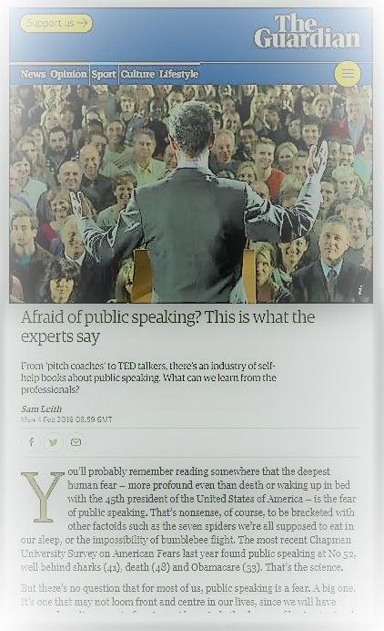 Guardian article on Fear of Public speaking