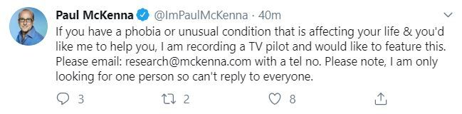Paul Mckenna Tweet new TV show