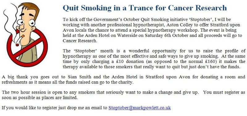 quit smoking this stoptober stop with mark powlett hypnotherapy