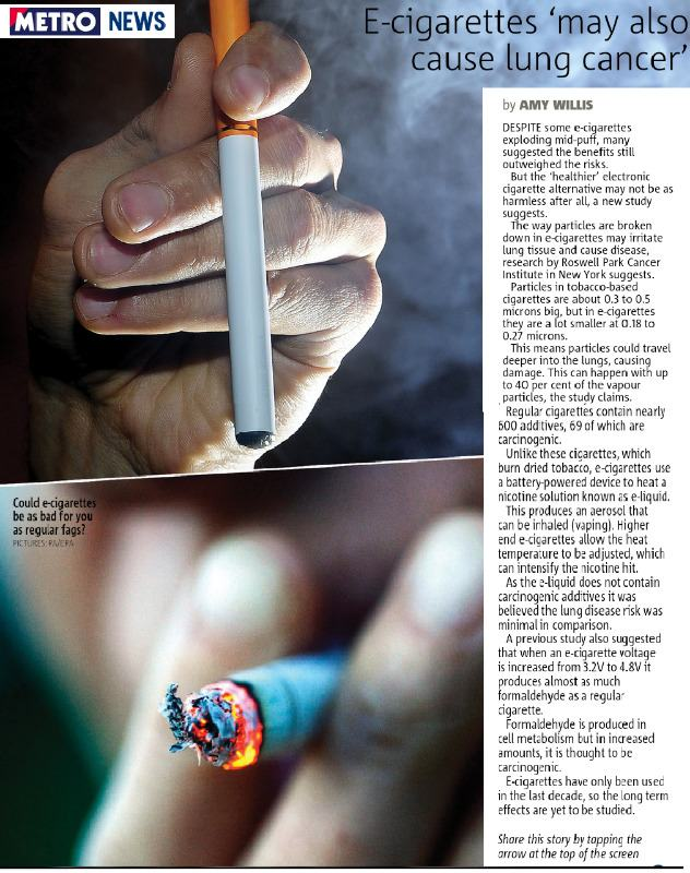 Ecigarettes may also cause lung cancer