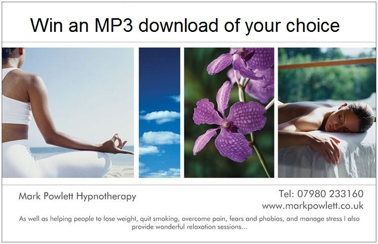 win an mp3 of your choice flyer mark powlett hypnotherapy
