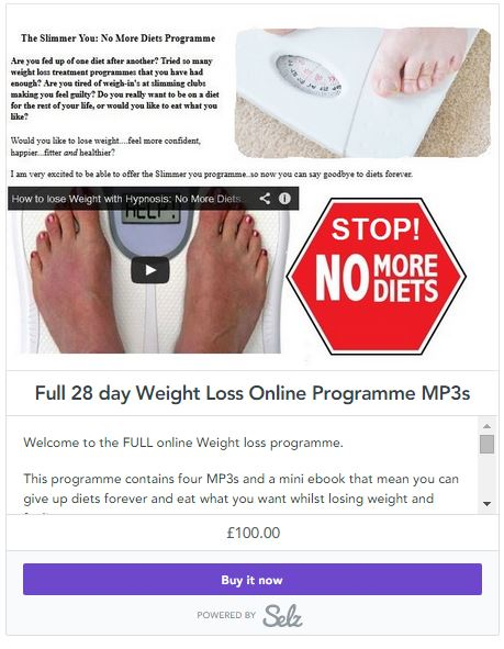 selz weight loss £100 snapshot