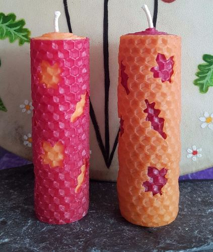 MABON Hand Crafted Beeswax Altar, Spell & Ritual Candle SET