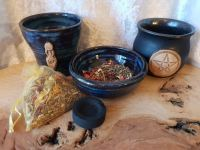 Altar Set/Kit Cauldron, Altar Offering Bowl & Chalice/Pot with Incense and Spell Herb Mix