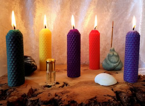 Hand Crafted Five Elements Beeswax Candle Set ~ Earth, Air, Fire, Water & S