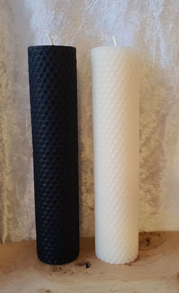 Beeswax LARGE Pillar Candles ~ Altar Candles, Working Candles, Black or Whi