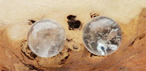 Pair Of Quartz Spheres