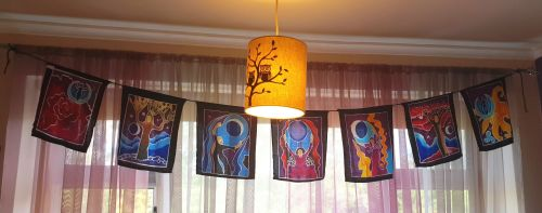 Hand Painted Moon Goddess Flags
