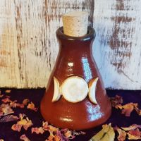 Hand Crafted Witches Potion Bottle with Ritual Oil Of Your Choice (red triple)