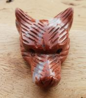 Red Jasper Hand Carved Wolf Head Bead Pendant
