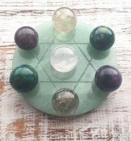 Healing, Love and Protection Grid Plate and Spheres (Aventurine, Rose Quartz, Smokey Quartz, Clear Quartz)