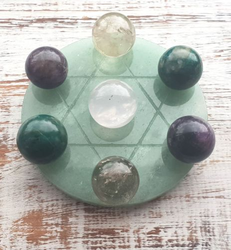 Healing, Love and Protection Grid Plate and Spheres (Aventurine, Rose Quart
